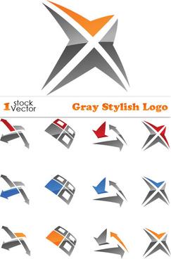 set of gray stylish logo vector