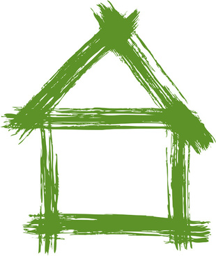 set of green eco house vector
