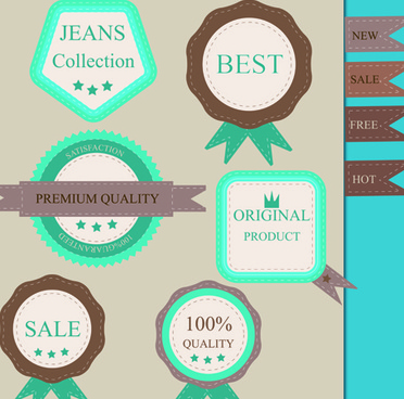 set of guaranty quality and premium labels vector