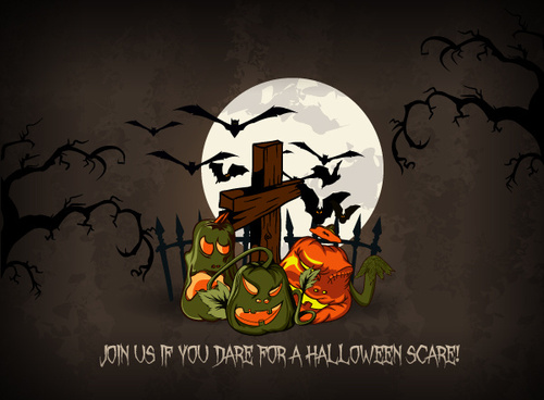 set of halloween vintage background vector