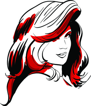 set of hand drawn fashion model vector graphics