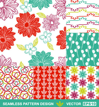 set of hand drawn seamless pattern design vector