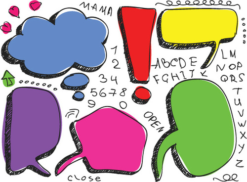set of hand drawn speech bubbles vector