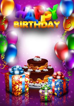 set of happy birthday postcards design elements vector