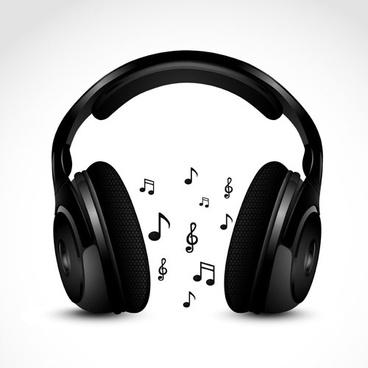 set of headphone elements vector