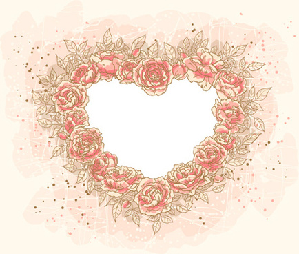 set of heart frame vector