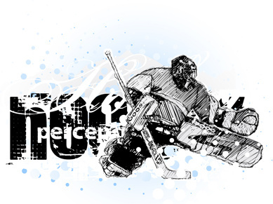set of hockey design elements vector