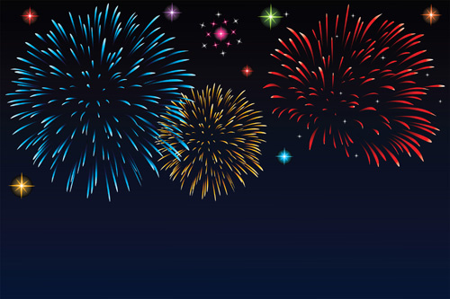 set of holiday fireworks design vector