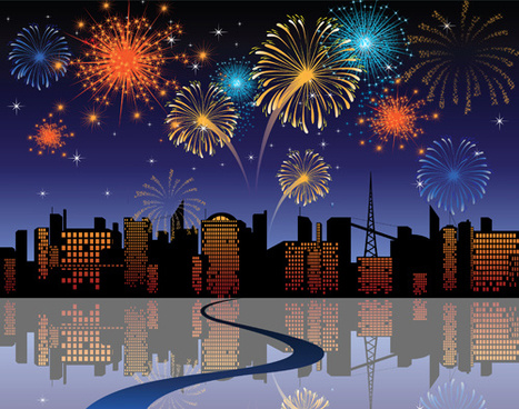set of holiday fireworks design vector