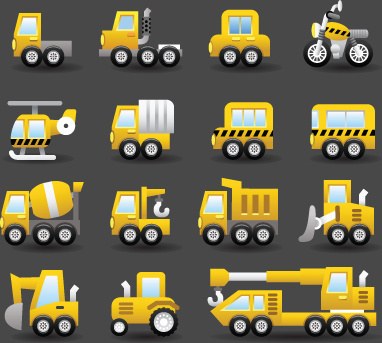 set of icons transportation vector