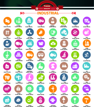 set of industrial icons vector