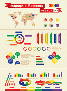 set of infographics and chart elements vector