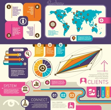 set of infographics elements retro style