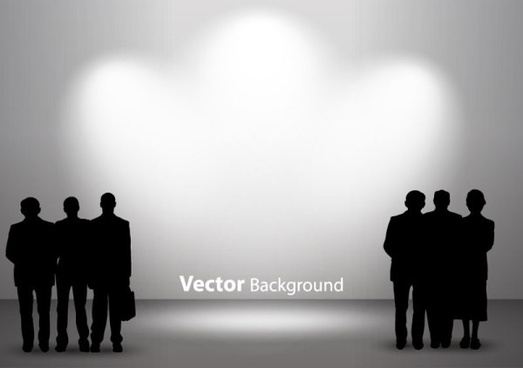 set of interior showroom and light wall vector backgrounds