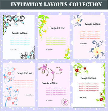 Set Of Invitation Cards Layouts Vector