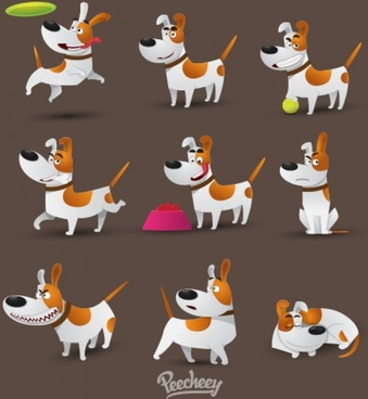 set of jack russell terrier in different positions
