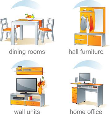 set of kitchen furniture design elements vector