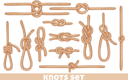 set of knots borders elements vector