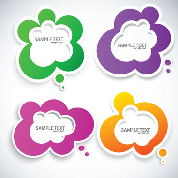 set of label cloud for text stickers vector