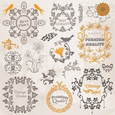 set of labels and ornaments elements vector