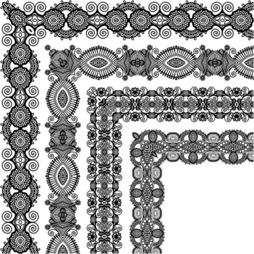 set of lace ribbons borders vector
