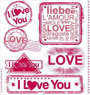 set of love seal label vector