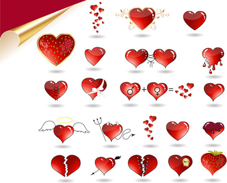 set of love theme icon mix vector