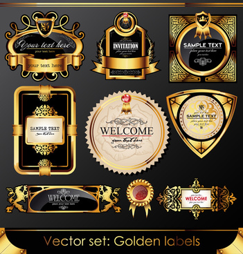 set of luxury golden label design vector