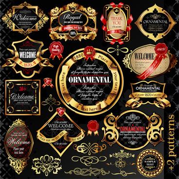 set of luxury golden label design vector