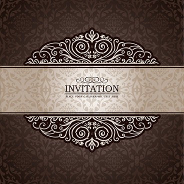 set of luxury invitation background elements vector