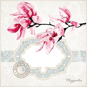 set of magnolia invitations cover vector graphic
