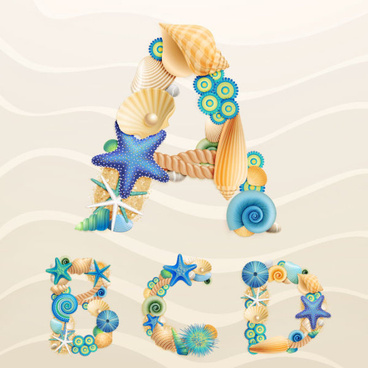 set of marine life font on sand vector