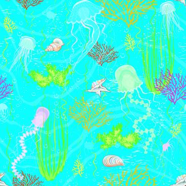 set of marine small animals seamless pattern vector