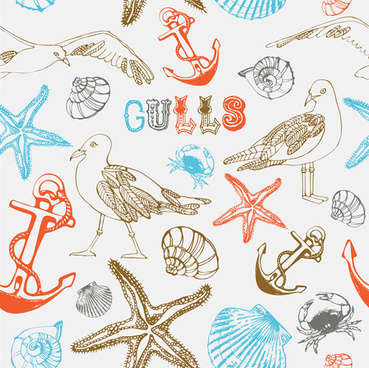 set of marine small animals seamless pattern vector
