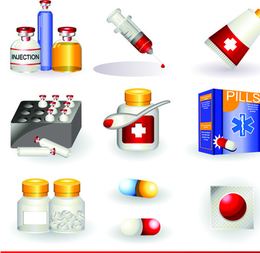 set of medicine elements icons vector