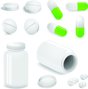 set of medicines elements vector graphics