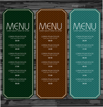 set of menu with spots pattern