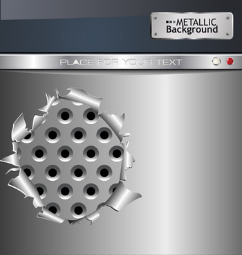 set of metal background with hole design vector