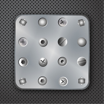 set of metal background with screws vector