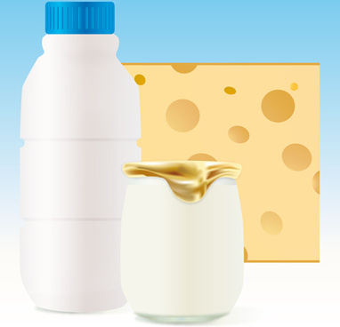 set of milk and cheese design vector graphics