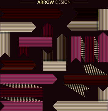 set of modern arrows design vector