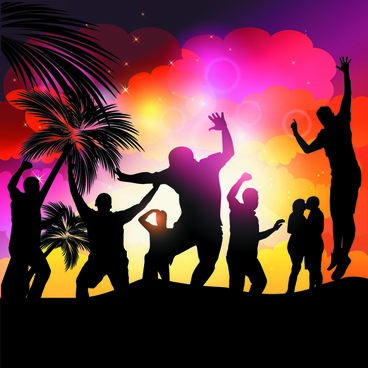 set of music party people design vector