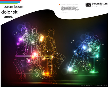 set of neon people elements vector graphics
