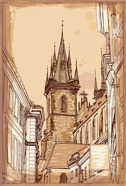 set of old town prague elements vector graphics