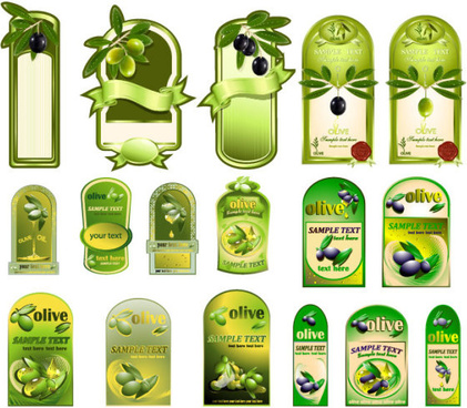 set of olive oil label stickers vector