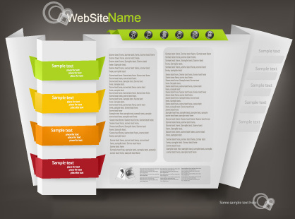 set of origami website template vector