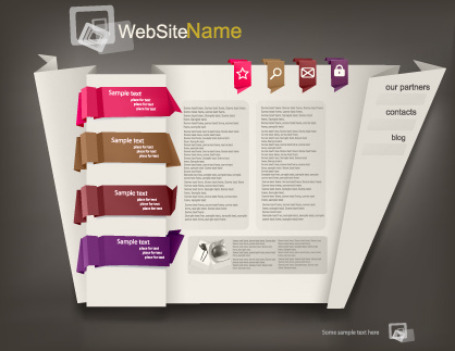 set of origami website template vector