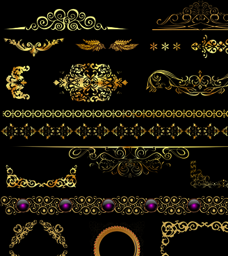 set of ornate calligraphy border pattern vector
