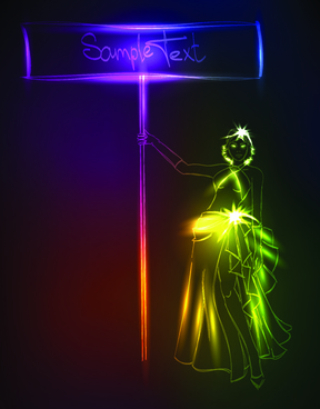 set of ornate neon light fashion model vector