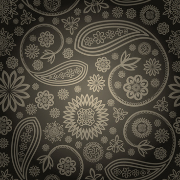 set of ornate paisley seamless pattern vector